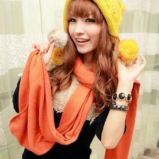 【Lady c.c.】素色毛球垂掛造型仿羊絨圍巾(橘)