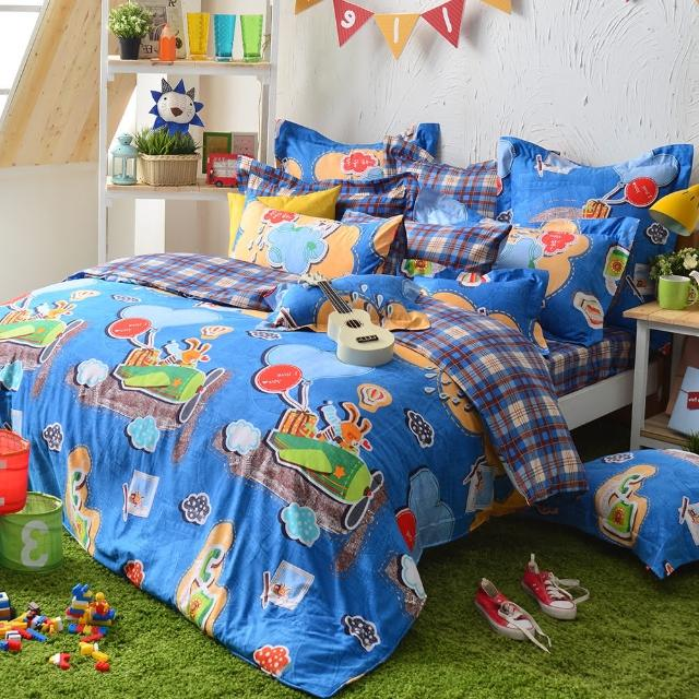 【義大利Fancy Belle】《熊比冒險趣》單人貢緞三件式防蹣抗菌舖棉兩用被床包組