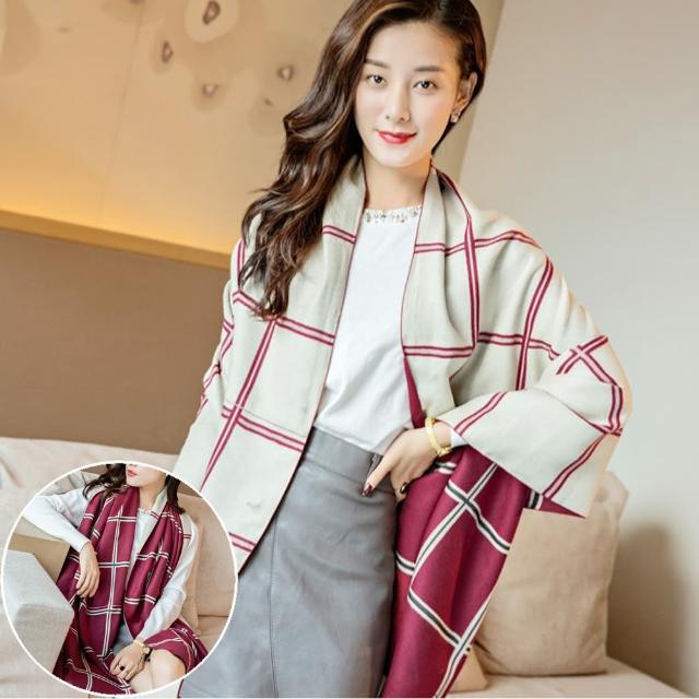 【Seoul Show】曼徹斯特撞色十字格紋仿羊絨圍巾(棗紅+米色)