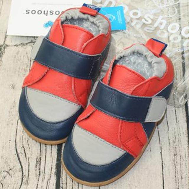 【英國 shooshoos】安全無毒真皮手工學步鞋/童鞋(海軍藍/紅色運動款 公司貨)