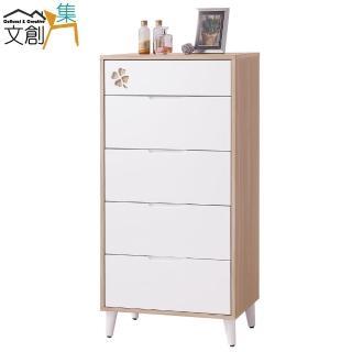 【文創集】莎登  木紋雙色2尺五抽斗櫃/收納櫃