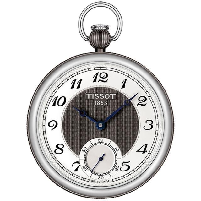 【TISSOT】天梭 小秒針無蓋式機械懷錶 附鍊-銀x黑/45mm(T8604052903200)