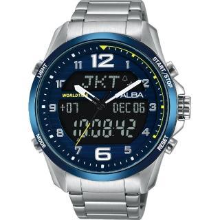 【劉以豪背刻特別款 ALBA】雅柏 W兩個世界雙顯限量腕錶-藍/44mm(N021-X004B AZ4025X1)