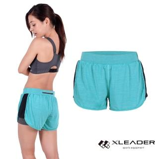 【LEADER】FTS-104假兩件 彈性吸排運動短褲 女款(果綠)