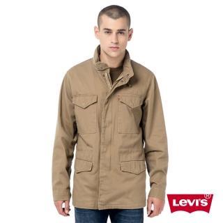 【Levis】男款修身長袖連帽風衣薄外套 卡其色 隱藏連帽