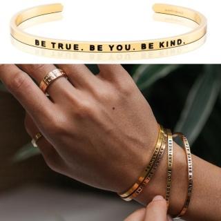 【MANTRABAND】美國悄悄話手環 Be True Be You Be Kind 勇敢堅強 仁慈善良 金色(悄悄話手環)