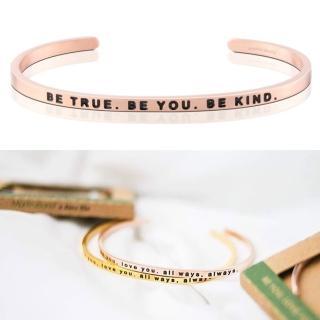 【MARABAND】美國悄悄話手環 Be True Be You Be Kind 勇敢堅強 仁慈善良 玫瑰金(悄悄話手環)