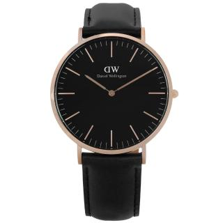 【Daniel Wellington】Classic Black Sheffield 經典旗艦真皮手錶 黑x玫瑰金框 40mm(DW00100127)