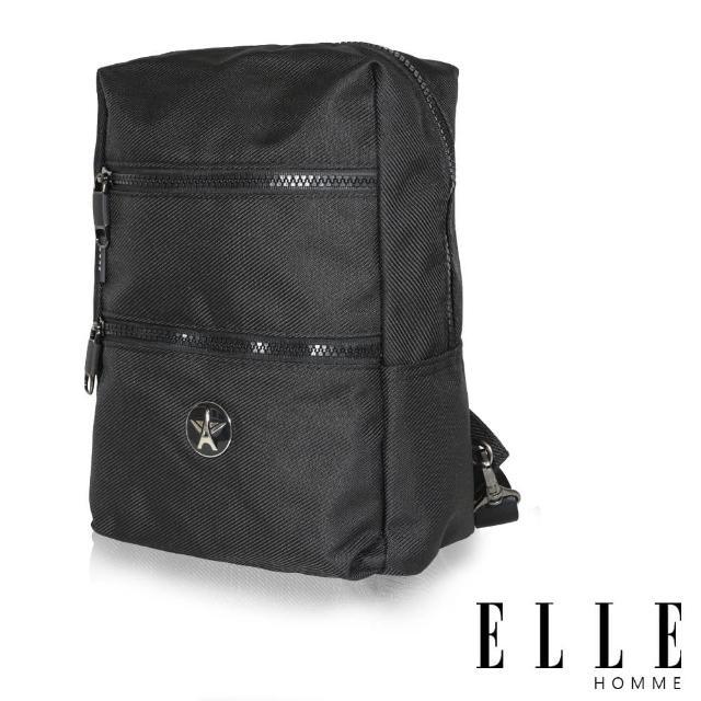 【ELLE HOMME】巴黎風輕旅商務休閒多功能單肩後背包(黑 EL83489-02)