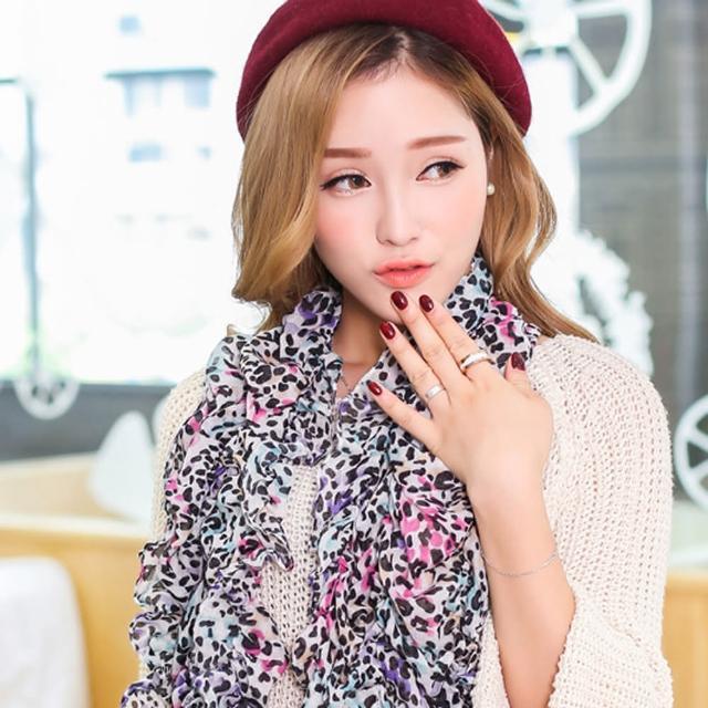 【Lady c.c.】清新拼色時尚巴黎紗圍巾(粉紫色)