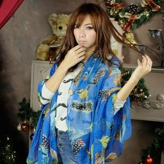 【Lady c.c.】墨繪欉林鳥獸旋舞圍巾(藍)