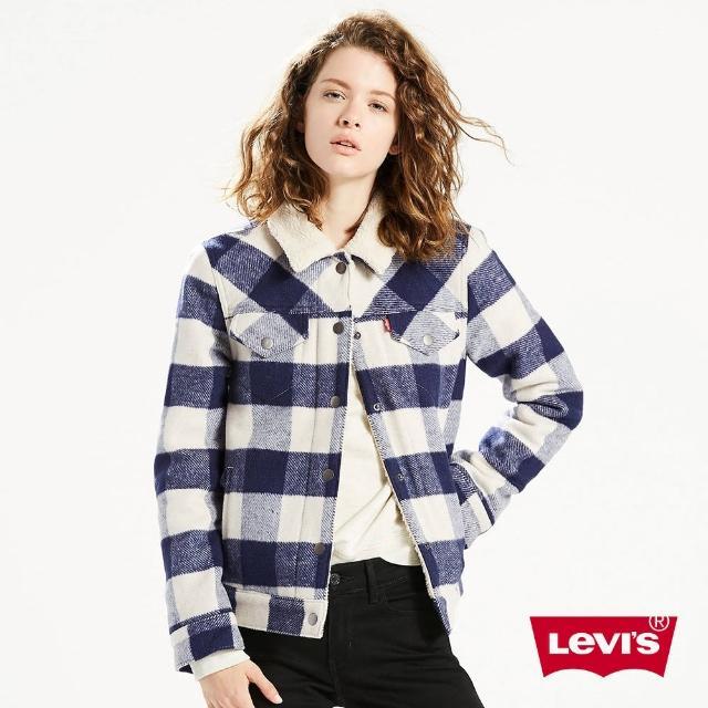 【Levis】女款修身羊毛外套 / 格紋 / 藍白雙色