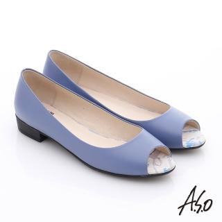 【A.S.O】玩美女伶 全真皮素面低跟魚口鞋(紫)