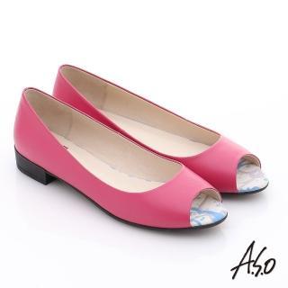 【A.S.O】玩美女伶 全真皮素面低跟魚口鞋(桃粉紅)