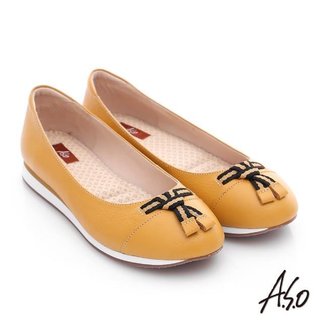 【A.S.O】樂福氣墊 摔花牛皮帆布蝴蝶結奈米平底鞋(黃)