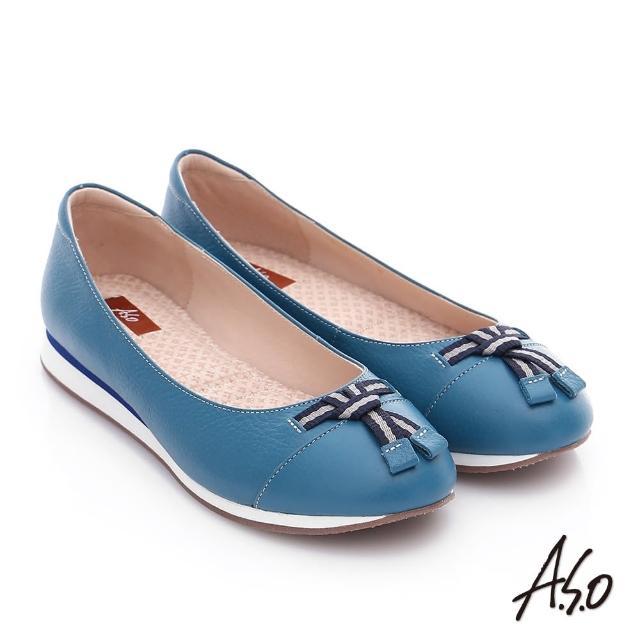【A.S.O】樂福氣墊 摔花牛皮帆布蝴蝶結奈米平底鞋(藍)