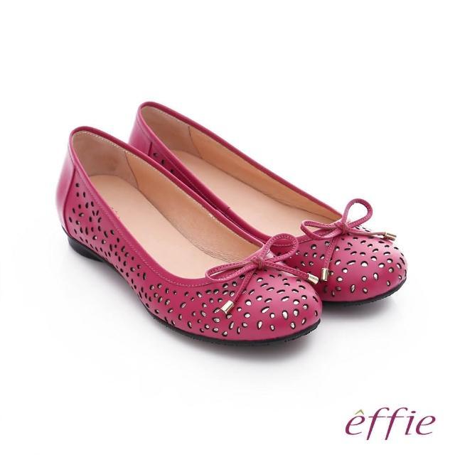 【effie】都會舒適 全真皮鏤空金箔蝴蝶結飾平底鞋(桃粉紅)