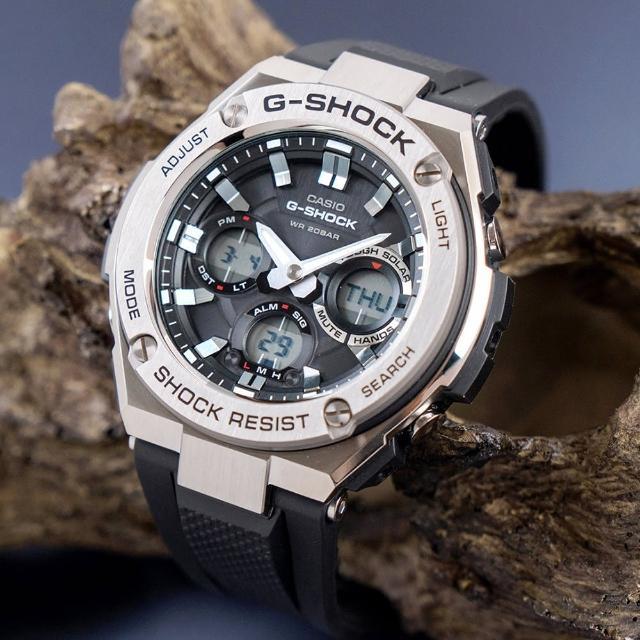 【G-SHOCK】強悍太陽能雙顯運動錶-黑x銀(GST-S110-1ADR)