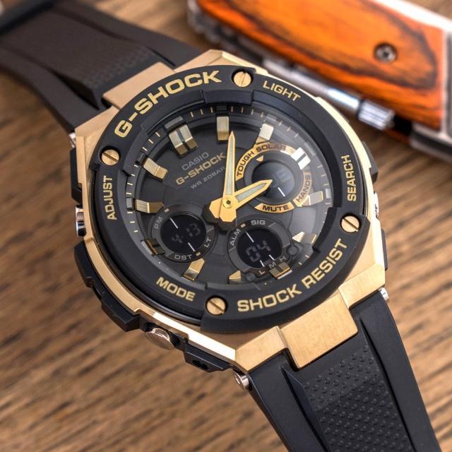 【G-SHOCK】強悍太陽能雙顯運動錶-黑x金(GST-S100G-1ADR)