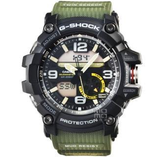 【CASIO】卡西歐G-SHOCK 雙顯重機鬧鈴電子錶-黑綠(GG-1000-1A3)