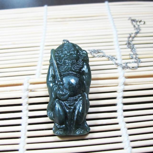 【Hera】天然頂級精雕和田青玉 辟邪護身驅魔真君/鍾馗/項鍊