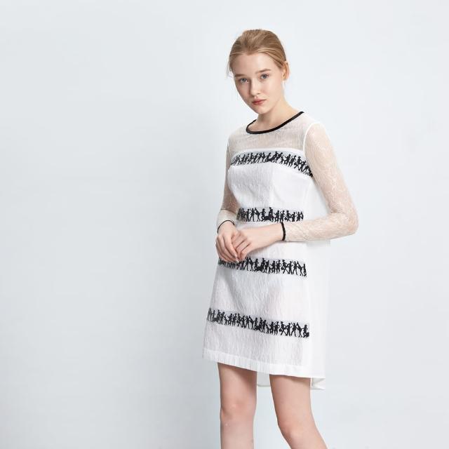 【ICHE 衣哲】立體雕花蕾絲刺繡拼接洋裝