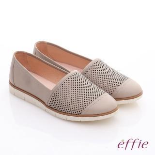 【effie】都會休閒 蠟感牛皮鏤空樂福休閒鞋(卡其)