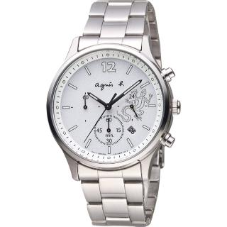 【agnes b.】巴黎城市戀人三眼計時腕錶-銀/39mm(V175-0DP0S BU8010P1)