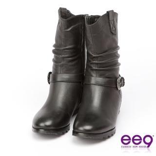 【ee9】經典手工-2WAY都會優雅金屬扣環繫帶百搭內增高中筒靴-黑色(中筒靴)