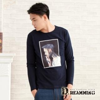 【Dreamming】街頭潮人萊卡彈力長袖圓領T(共二色)