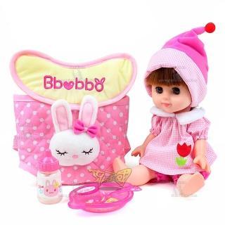 【孩子國】綺妮娃娃-附餐盤、奶瓶、背包版(ST安全玩具)