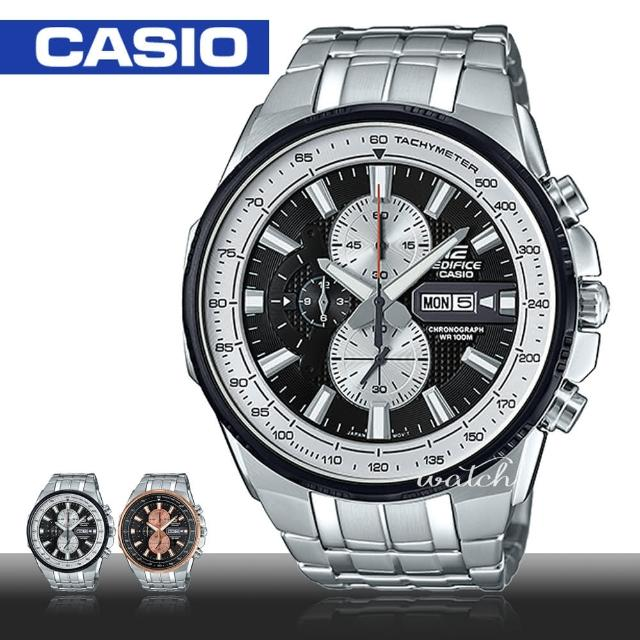 【CASIO 卡西歐 EDIFICE 系列】送禮首選 不鏽鋼錶帶 防水 三眼計時 男錶(EFR-549D)