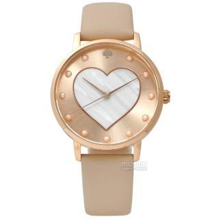 【kate spade】璀璨真心珍珠母貝真皮手錶 玫瑰金x杏 34mm(KSW1254)