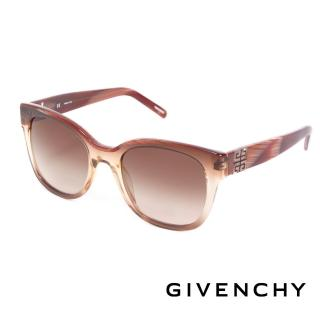 【GIVENCHY】法國魅力紀梵希都會玩酷大理石紋造型太陽眼鏡(-紅棕- GISGV8260D83)