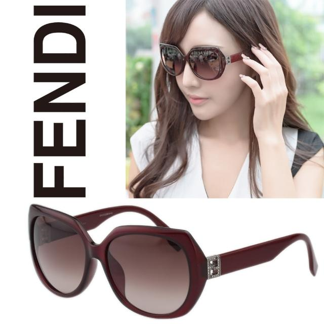 【FENDI】-東方版 時尚太陽眼鏡(紅色)