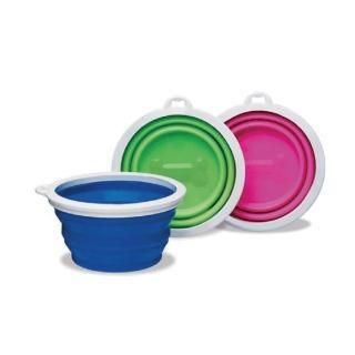 【美國Petmate】bamboo伸縮摺疊碗-大(藍、綠、桃紅)
