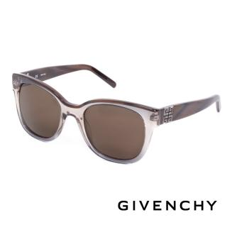 【GIVENCHY 法國魅力紀梵希】都會玩酷大理石紋造型太陽眼鏡(-褐- GISGV8260AG1)