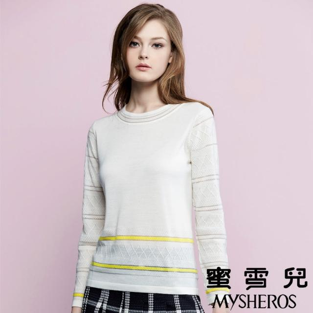 【蜜雪兒mysheros】羊毛圓領雙色針織上衣(白)