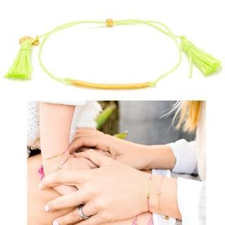 【GORJANA】美國品牌 LAGUNA 金色平衡骨 亮淺綠色流蘇手鍊 雙材質設計(雙材質 可調式手圍設計)