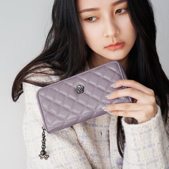 【2R】綿霜羊皮KOKO極軟菱格長夾 羅蘭粉紫