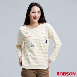 【BOBSON】女款刺繡縫珠細條紋上衣(36073-30)