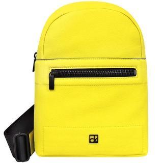 【Calvin Klein】皮革壓紋後背包(黃色)