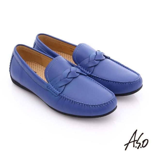 【A.S.O】輕量抗震 真皮編織縫線奈米樂福鞋(寶藍)