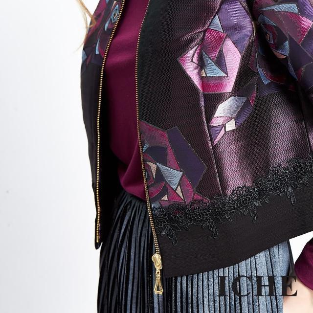 【ICHE 衣哲】幾何感玫瑰提花蕾絲短版外套