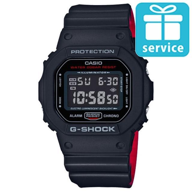 【CASIO】G-SHOCK 絕對強悍黑與紅系列科技液晶錶(DW-5600HR-1)