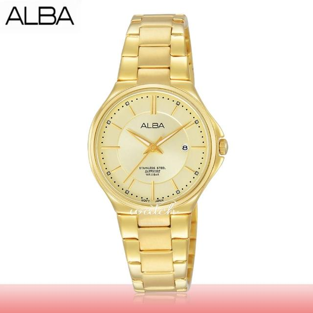 【SEIKO 精工 ALBA 系列】氣質必備 不鏽鋼錶帶 防水 日期顯示 藍寶石水晶鏡面 女錶(AH7J54X1)