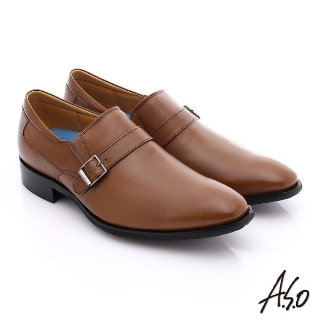 【A.S.O】菁英通勤 小牛皮飾帶奈米紳士皮鞋(茶)