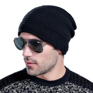 【米蘭精品】針織毛線帽男帽子(韓版素色簡約首選保暖防寒男配件5色73if52)