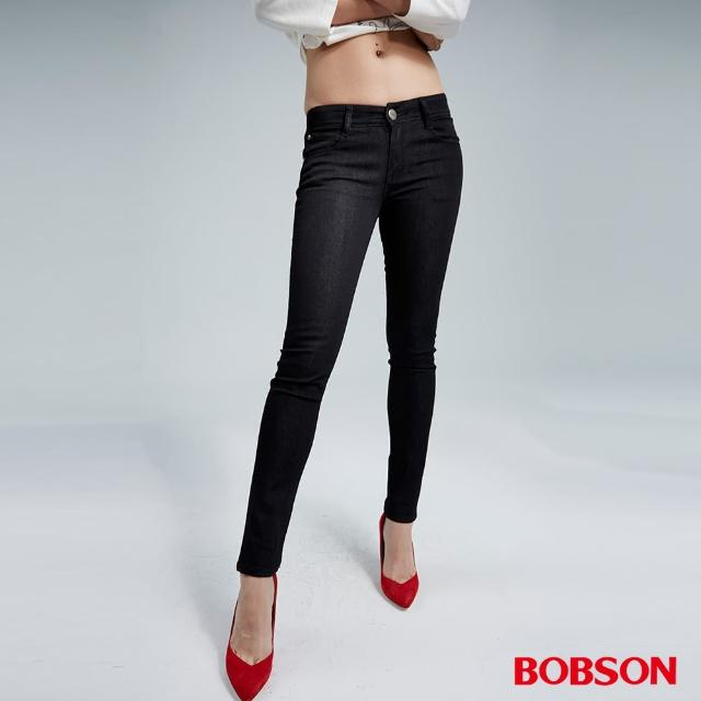 【BOBSON】女款低腰彈力小直筒褲(藍8147-87)