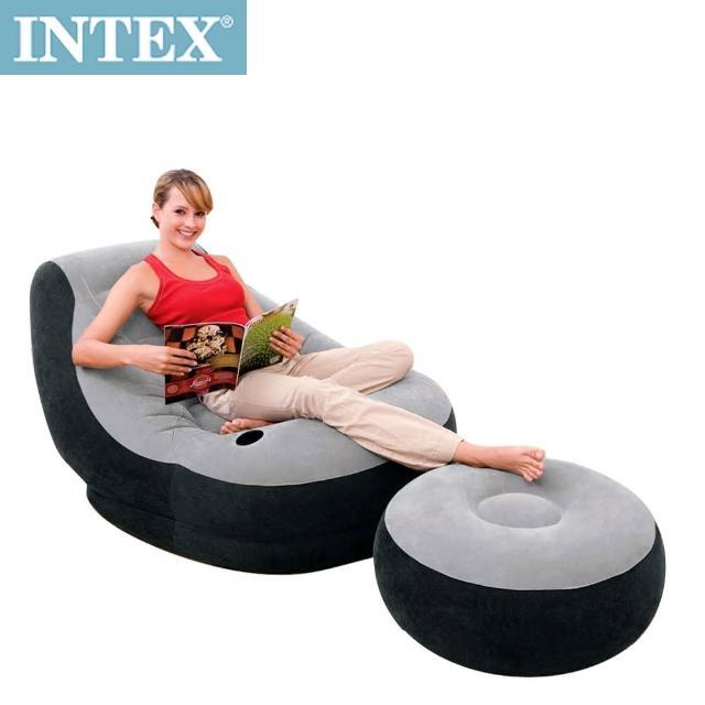 【INTEX】懶骨頭-單人充氣沙發椅附腳椅-灰色(68564NP)
